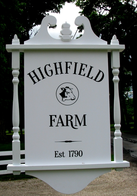 Custom farm sign in a colonial style. Carved and double sided