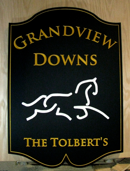 Equestrian custom sign, single sided gold paint lettering