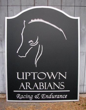 Custom wood sign for an equestrian center, carved with logo