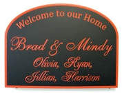 Custom sign with cursive letters painted red