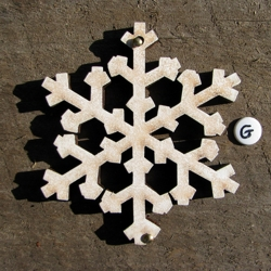Wooden snow flake hand painted