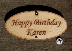 Oval wooden gift tag