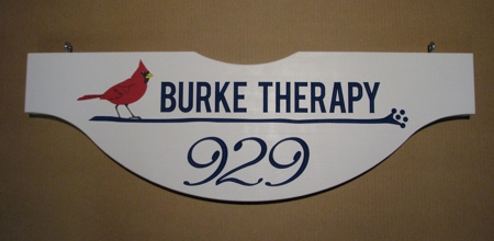 "Custom business sign in 2"" thick cypress, carved letters and hand painted artwork"