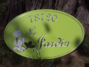 One of our favorite custom signs. Silver leaf on a lime background..truely beautiful