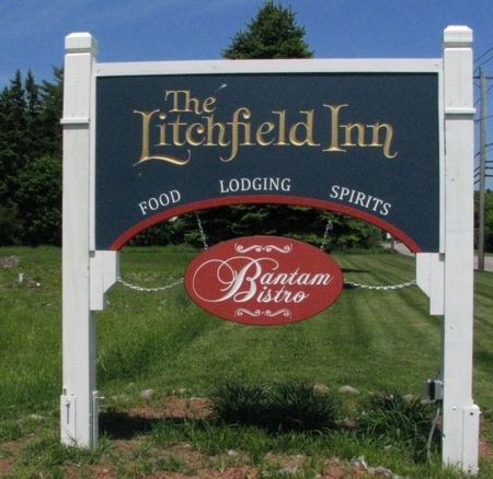 Custom business sign for an old inn in Connecticut