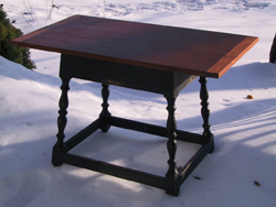 Belmeade custom woodwork fire side table cherry top painted legs